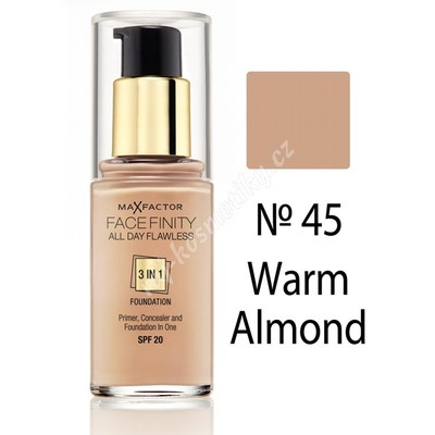 Max Factor Facefinity 3v1 All Day Flawless make-up 45 Warm Almond 30 ml