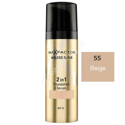 Max Factor Ageless Elixir 2 Foundation + Sérum Hedvábně jemný make-up se sérem 55 Beige 30 ml